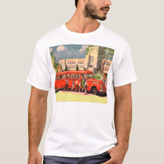 Retro Vintage Kitsch 50s School Kid Red School Bus T-Shirt