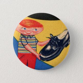 Retro Vintage Kitsch 50s Shoe Shine Boy Ad Art Button