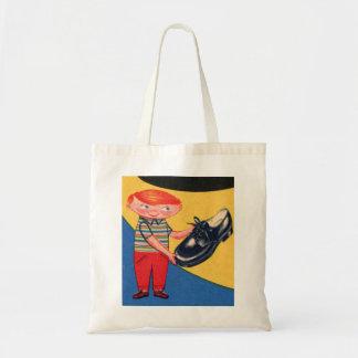 Retro Vintage Kitsch 50s Shoe Shine Boy Ad Art Tote Bag