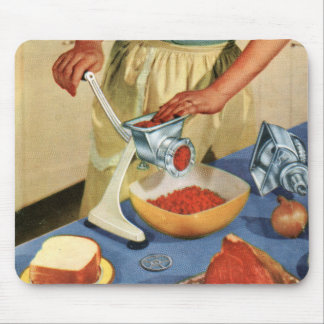 Retro Vintage Kitsch 50s Suburbs Meat Grinder Beef Mouse Pad