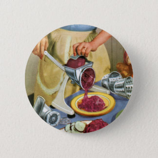 Retro Vintage Kitsch 50s Suburbs Meat Grinder Pinback Button