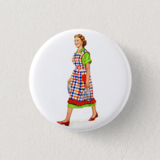 Retro Vintage Kitsch 50s Suburbs Woman Housewife Button