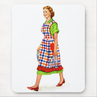 Retro Vintage Kitsch 50s Suburbs Woman Housewife Mouse Pad