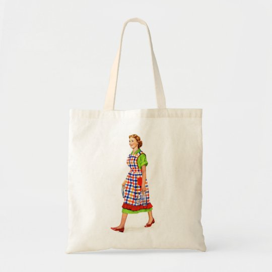 Retro Vintage Kitsch 50s Suburbs Woman Housewife Tote Bag