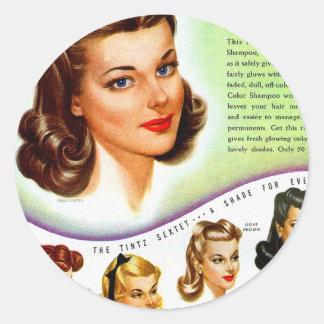 Retro Vintage Kitsch 50s Tintz Haircolor Ad Classic Round Sticker