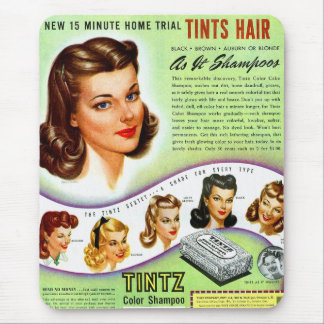 Retro Vintage Kitsch 50s Tintz Haircolor Ad Mouse Pad