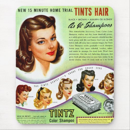 Retro Vintage Kitsch 50s Tintz Haircolor Ad Mousepads