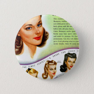 Retro Vintage Kitsch 50s Tintz Haircolor Ad Pinback Button