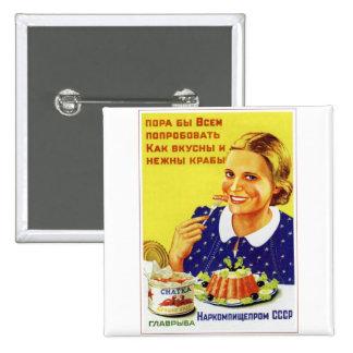 Retro Vintage Kitsch 50s USSR Soviet Chatka Crab Pinback Button
