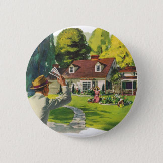 Retro Vintage Kitsch 50s Welcome Home House Ad Art Button