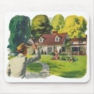 Retro Vintage Kitsch 50s Welcome Home House Ad Art Mouse Pad