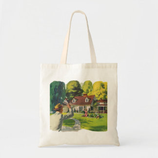 Retro Vintage Kitsch 50s Welcome Home House Ad Art Tote Bag
