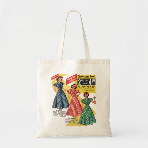 Retro Vintage Kitsch 50s Woman Dresses Fashion Ad Budget Tote Bag