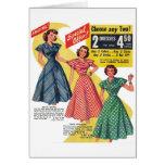 Retro Vintage Kitsch 50s Woman Dresses Fashion Ad Greeting Card