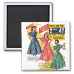 Retro Vintage Kitsch 50s Woman Dresses Fashion Ad Magnets