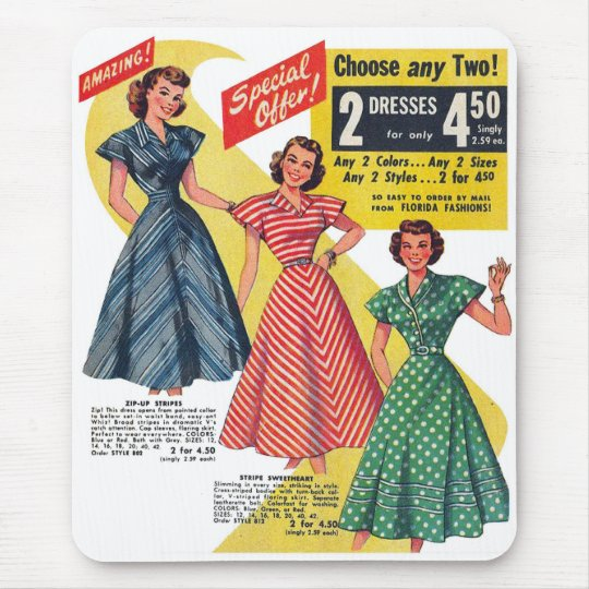 Retro Vintage Kitsch 50s Woman Dresses Fashion Ad Mouse Pad