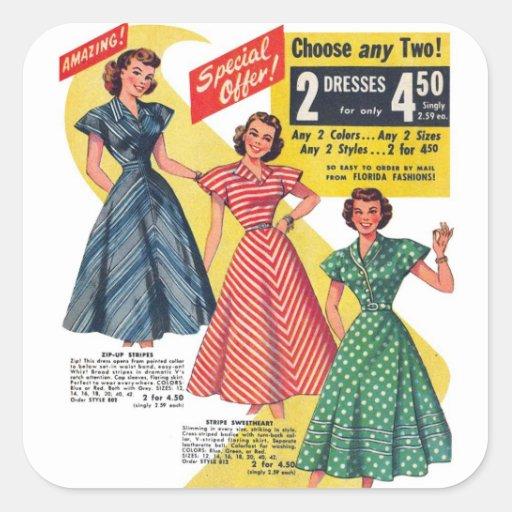 Retro Vintage Kitsch 50s Woman Dresses Fashion Ad Square Sticker