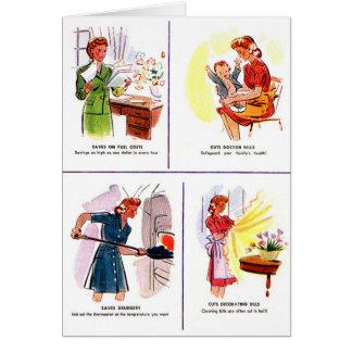 Retro Vintage Kitsch 50s Woman Housewife Savings Greeting Card