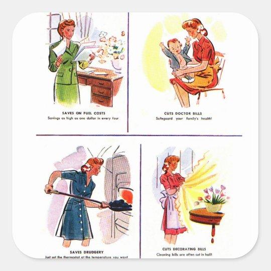 Retro Vintage Kitsch 50s Woman Housewife Savings Square Sticker