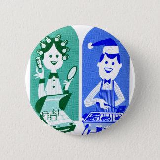 Retro Vintage Kitsch 60s Ad Cartoon Mom & Dad Pinback Button