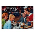 Retro Vintage Kitsch 60s Beef Steak Dinner Ad Art Card
