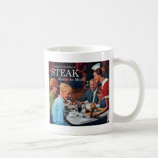 Retro Vintage Kitsch 60s Beef Steak Dinner Ad Art Coffee Mug