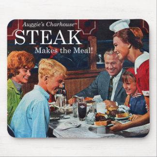 Retro Vintage Kitsch 60s Beef Steak Dinner Ad Art Mouse Pad