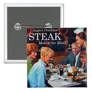 Retro Vintage Kitsch 60s Beef Steak Dinner Ad Art Pinback Button