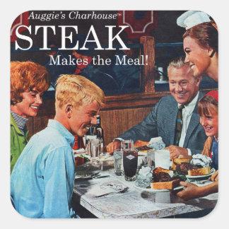 Retro Vintage Kitsch 60s Beef Steak Dinner Ad Art Square Sticker