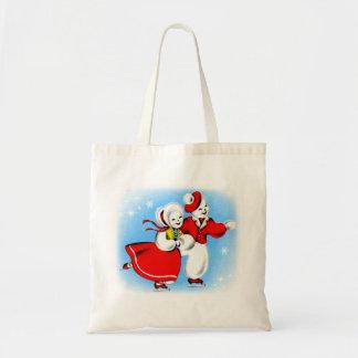 Retro Vintage Kitsch 60s Christmas Snowman Card Canvas Bag