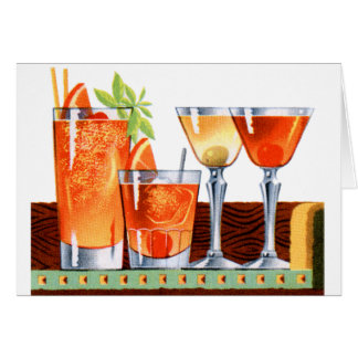 Retro Vintage Kitsch 60s Cocktails Drinks Martinis Card