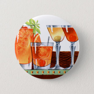 Retro Vintage Kitsch 60s Cocktails Drinks Martinis Pinback Button
