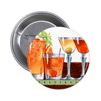 Retro Vintage Kitsch 60s Cocktails Drinks Martinis Pinback Button
