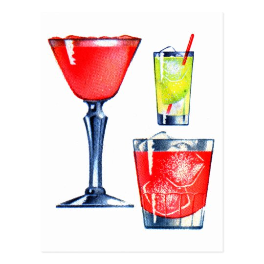 Retro Vintage Kitsch 60s Cocktails Drinks Martinis Postcard