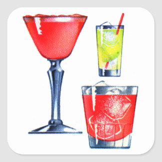 Retro Vintage Kitsch 60s Cocktails Drinks Martinis Square Sticker