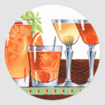 Retro Vintage Kitsch 60s Cocktails Drinks Martinis Round Sticker