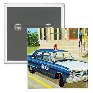 Retro Vintage Kitsch 60s Cops Police Car Cruiser Button