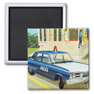 Retro Vintage Kitsch 60s Cops Police Car Cruiser Magnet