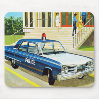 Retro Vintage Kitsch 60s Cops Police Car Cruiser Mouse Pad