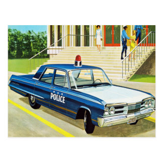 Retro Vintage Kitsch 60s Cops Police Car Cruiser Postcard