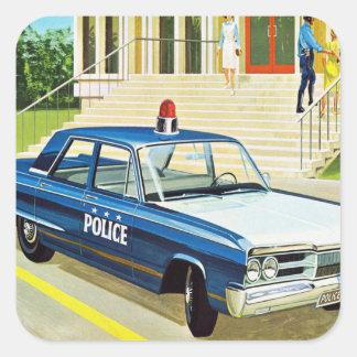 Retro Vintage Kitsch 60s Cops Police Car Cruiser Square Sticker