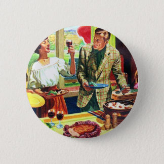 Retro Vintage Kitsch 60s Country Living Suburbs Pinback Button