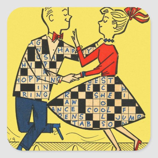 Retro Vintage Kitsch 60s Crossword Puzzle Kids Square Sticker
