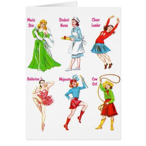 Retro Vintage Kitsch 60s Girls Dreams Card