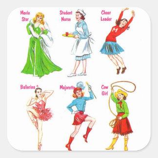 Retro Vintage Kitsch 60s Girls Dreams Square Sticker