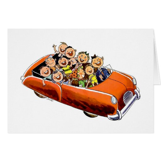 Retro Vintage Kitsch 60s Happy Family Drive Greeting Cards