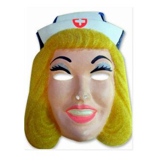 Retro Vintage Kitsch 60s Kids Halloween Nurse Mask Postcard