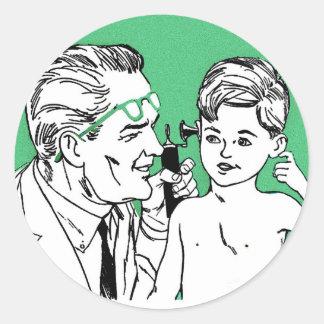 Retro Vintage Kitsch 60s Let's Visit The Doctor! Classic Round Sticker
