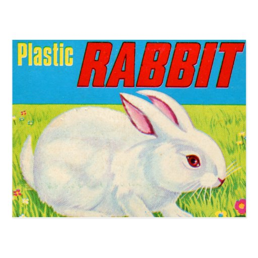 Retro Vintage Kitsch 60s Plastic Rabbit Toy Postcard | Zazzle