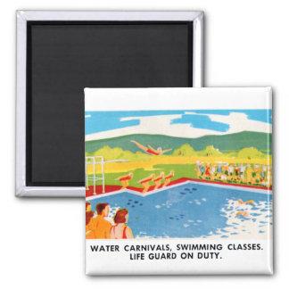 Retro Vintage Kitsch 60s Resort Ad Brochure Art 2 Inch Square Magnet